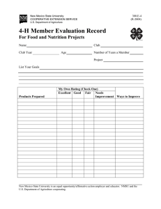 4-H Member Evaluation Record For Food and Nutrition Projects  Name