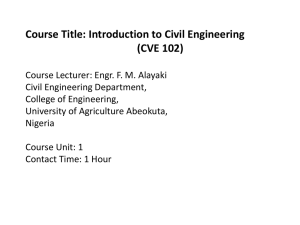 Course Title: Introduction to Civil Engineering (CVE 102)
