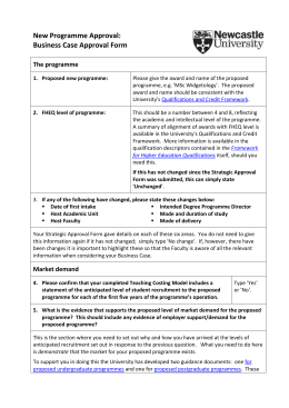 New Programme Approval: Business Case Approval Form  The programme
