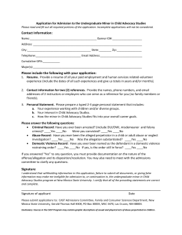 Application for Admission to the Undergraduate Minor in Child Advocacy...