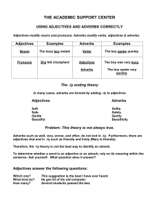 THE ACADEMIC SUPPORT CENTER  USING ADJECTIVES AND ADVERBS CORRECTLY Adjectives