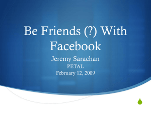 Be Friends (?) With Facebook S Jeremy Sarachan