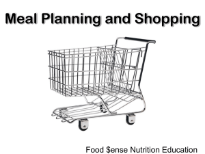 Meal Planning and Shopping Food $ense Nutrition Education