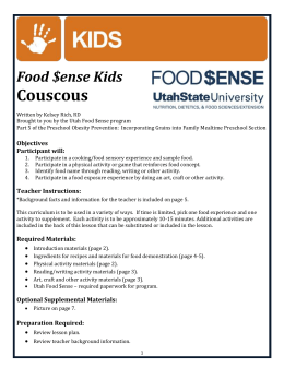 Couscous Food $ense Kids