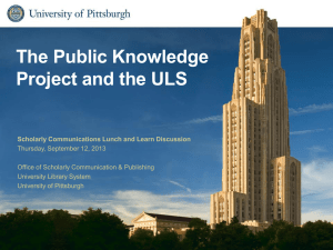The Public Knowledge Project and the ULS