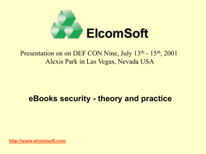 eBooks security - theory and practice - 15 , 2001