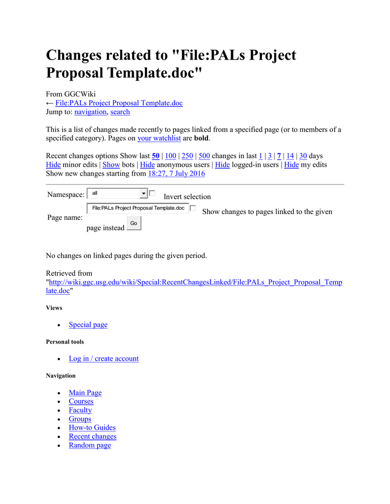 Changes Related To File Pals Project Proposal Template Doc
