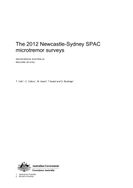 The 2012 Newcastle-Sydney SPAC microtremor surveys GEOSCIENCE AUSTRALIA RECORD 2014/54