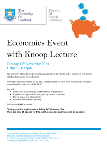 Economics Event with Knoop Lecture Tuesday 11 November 2014