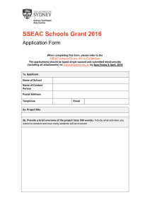 SSEAC Schools Grant 2016 Application Form SSEAC Schools Grant 2016 Guidelines