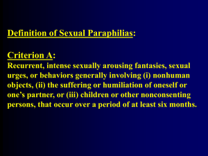 Definition of Sexual Paraphilias: Criterion A: