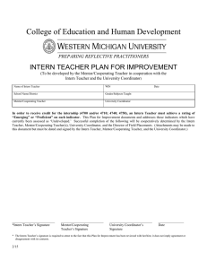 College of Education and Human Development INTERN TEACHER PLAN FOR IMPROVEMENT