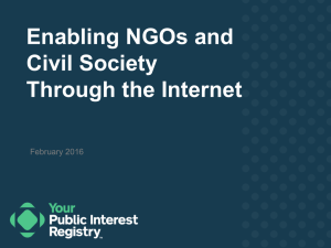 Enabling NGOs and Civil Society Through the Internet February 2016