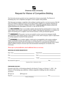 Request for Waiver of Competitive Bidding Shawnee State University