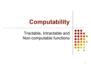 Computability Tractable, Intractable and Non-computable functions 1
