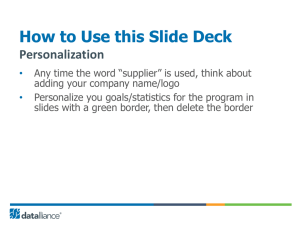 How to Use this Slide Deck Personalization