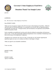 Governor's State Employees Food Drive  Donation Thank You Sample Letter