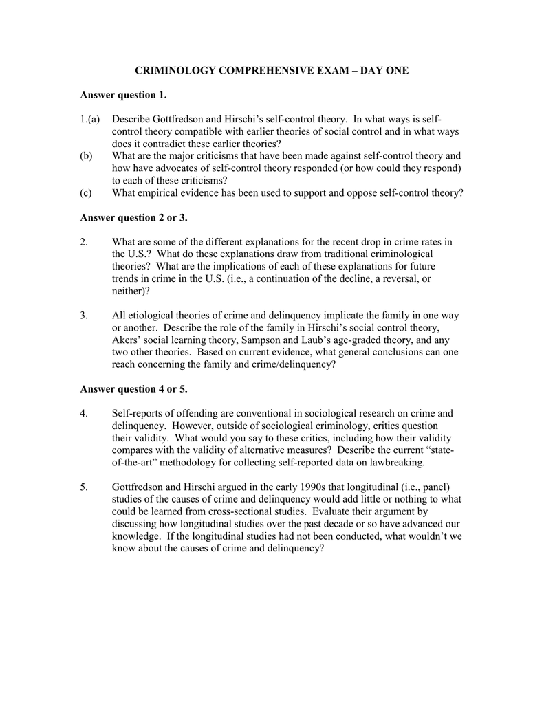 CRIMINOLOGY COMPREHENSIVE EXAM – DAY ONE Answer question 1