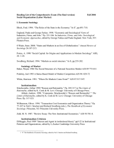 Reading List of the Comprehensive Exam (The final version)  ... Social Organization (Labor Market)