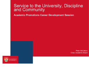 Service to the University, Discipline and Community Academic Promotions Career Development Session