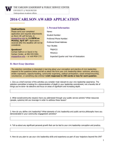 2016 CARLSON AWARD APPLICATION I. Personal Information Instructions