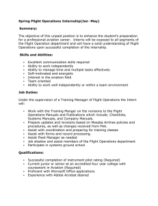 Spring Flight Operations Internship(Jan -May) Summary: