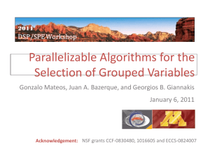 Parallelizable Algorithms for the Selection of Grouped Variables January 6, 2011