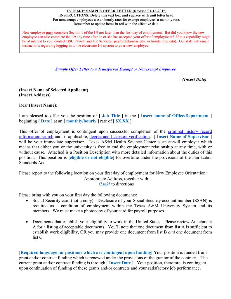 Fy 2014 15 sample offer letter revised 01 16 2015 altavistaventures Image collections