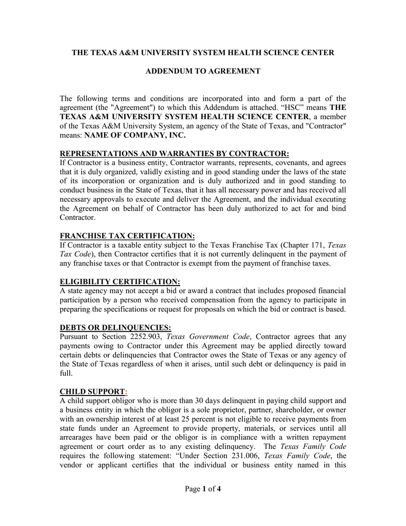 The Texas A Amp M University System Health Science Center Addendum To Agreement