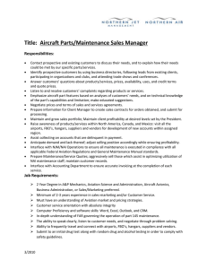 Title:  Aircraft Parts/Maintenance Sales Manager  Responsibilities: