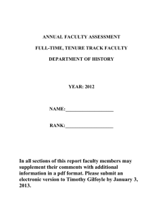 ANNUAL FACULTY ASSESSMENT  FULL-TIME, TENURE TRACK FACULTY DEPARTMENT OF HISTORY