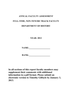 ANNUAL FACULTY ASSESSMENT  FULL-TIME, NON-TENURE TRACK FACULTY DEPARTMENT OF HISTORY