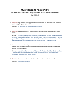 Questions and Answers #2 District Electronic Security Systems Maintenance Services Bid 86643