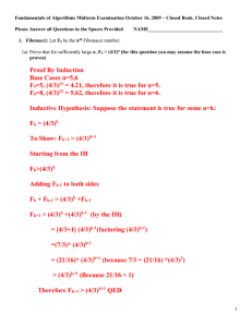 Fundamentals of Algorithms Midterm Examination October 16, 2009 – Closed...  Please Answer all Questions in the Spaces Provided