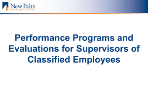 Performance Programs and Evaluations for Supervisors of Classified Employees