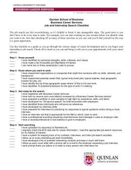 Quinlan School of Business Business Career Services Job and Internship Search Checklist