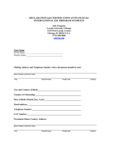 DECLARATION and CERTIFICATION of FINANCES for INTERNATIONAL ESL PROGRAM STUDENTS
