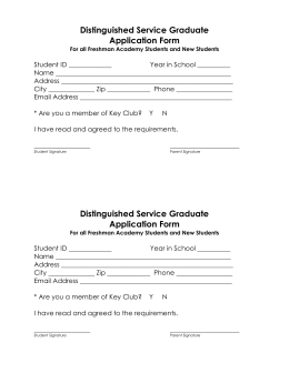 Distinguished Service Graduate Application Form