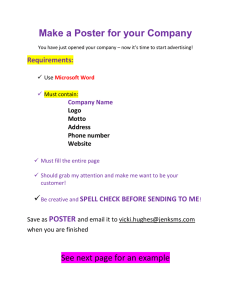 Make a Poster for your Company   Requirements: