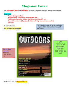 Magazine Cover Microsoft Word Publisher or