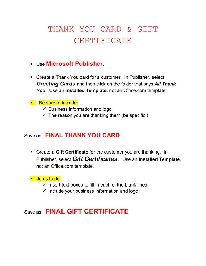 Thank You Card Gift Certificate Microsoft Publisher
