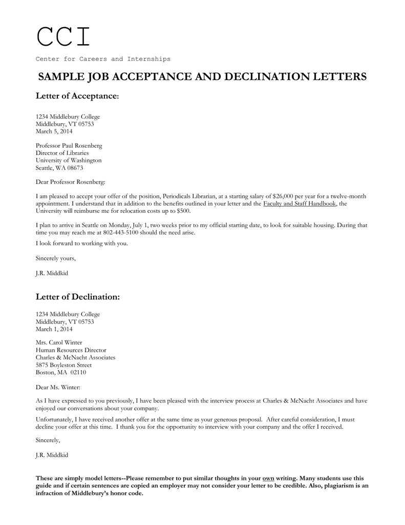 cci sample job acceptance and declination letters letter