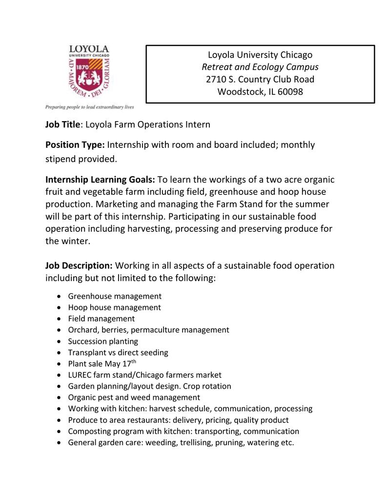 Job Title Position Type Internship Learning Goals – General Intern Job Description