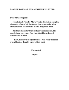 SAMPLE FORMAT FOR A FRIENDLY LETTER  Dear Mrs. Swagerty, Huck Finn
