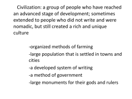 Civilization: a group of people who have reached