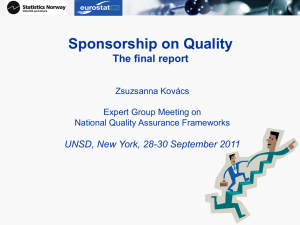 Sponsorship on Quality The final report UNSD, New York, 28-30 September 2011
