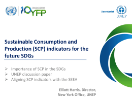 Sustainable Consumption and Production (SCP) indicators for the future SDGs