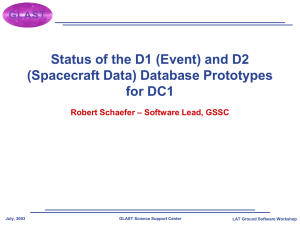 Status of the D1 (Event) and D2 (Spacecraft Data) Database Prototypes