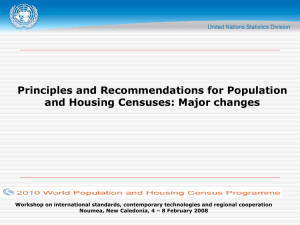 Principles and Recommendations for Population and Housing Censuses: Major changes