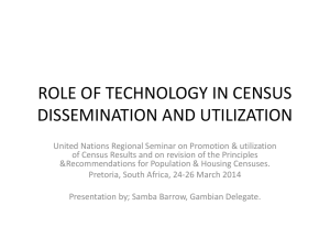 ROLE OF TECHNOLOGY IN CENSUS DISSEMINATION AND UTILIZATION